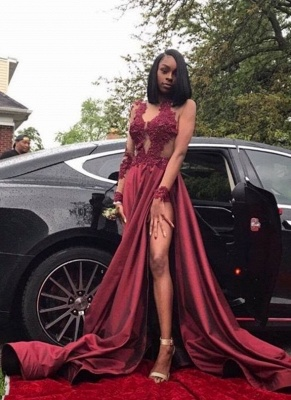 Sexy Burgundy Sheer Prom Dresses Long Sleeves Side Slit Evening Gowns LY099_1
