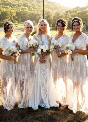 Elegant Capped-Sleeves Sheer Lace V-Neck Long Bridesmaid Dresses_2