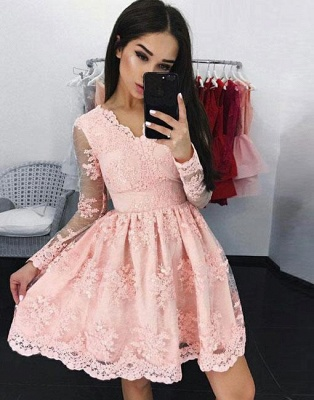 Pink V-neck A-line Long-sleeves Short Lace Cocktail Dress_2