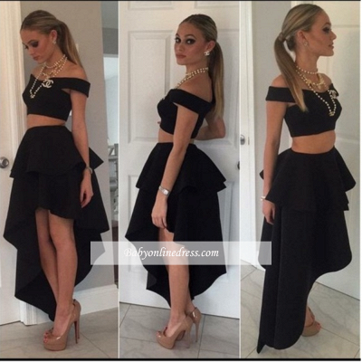Black Off-the-shoulder Two-Piece Tiered Cheap Irregular Homecoming Dresses_1