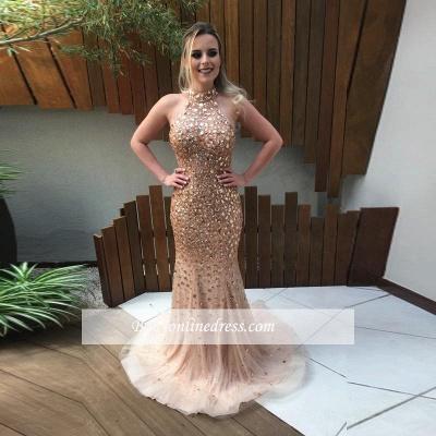 2018 Elegant Open-Back Crystal Mermaid Halter Sweep-Train Prom Dress_1