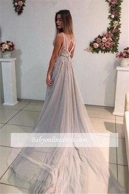 A-Line Elegant Court-Train Sleeveless Crystal Evening Dress_4