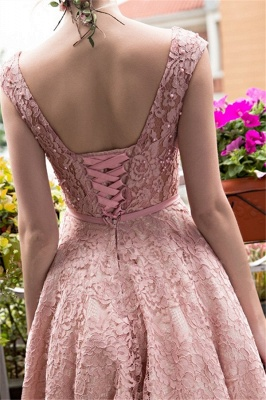 Glamorous Tea-Length A-Line Lace-up Lace Homecoming Dresses with Beadings_4