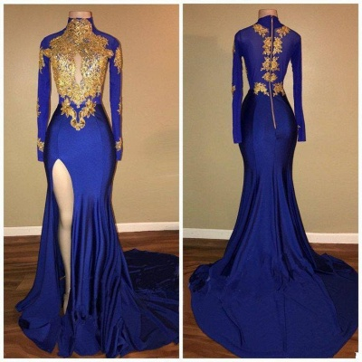 Royal Blue and Gold Prom Dresses | Long Sleeves Side Slit Evening Gowns_4