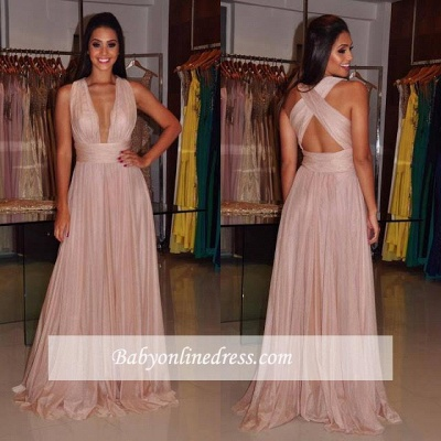 Sheath Cross-Back Length Floor Deep-V-Neck Sexy Prom Dress_3