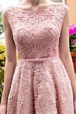 Glamorous Tea-Length A-Line Lace-up Lace Homecoming Dresses with Beadings_5