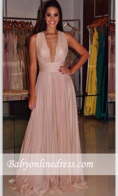 Sheath Cross-Back Length Floor Deep-V-Neck Sexy Prom Dress_1