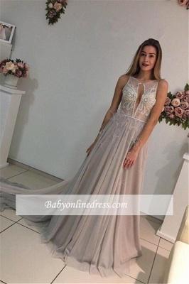 A-Line Elegant Court-Train Sleeveless Crystal Evening Dress_5