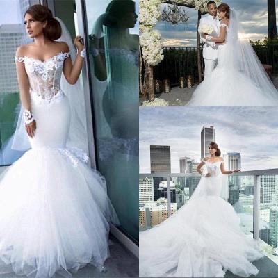 Elegant Off-the-Shoulder Tulle Appliques Mermaid Long Sleeves Wedding Dresses_4