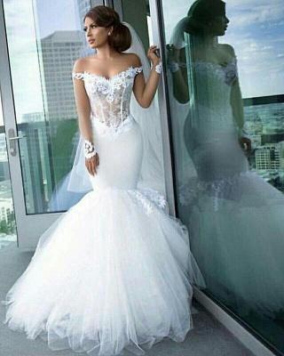 Elegant Off-the-Shoulder Tulle Appliques Mermaid Long Sleeves Wedding Dresses_2