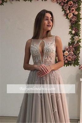 A-Line Elegant Court-Train Sleeveless Crystal Evening Dress_3