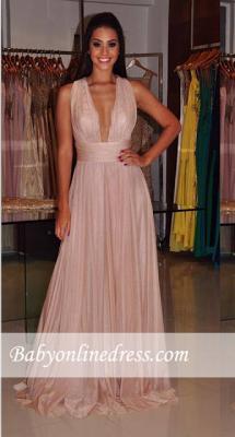 Sheath Cross-Back Length Floor Deep-V-Neck Sexy Prom Dress_4