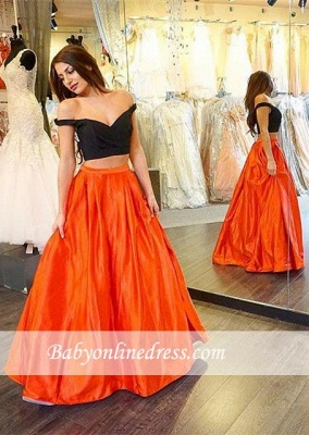 Sexy Two Piece A-line Off-the-shoulder Long Prom Dress_3