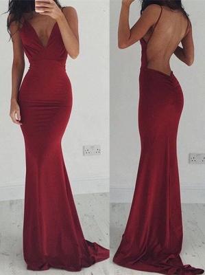 Mermaid Burgundy Prom Dresses Backless V-Neck Evening Gown_4