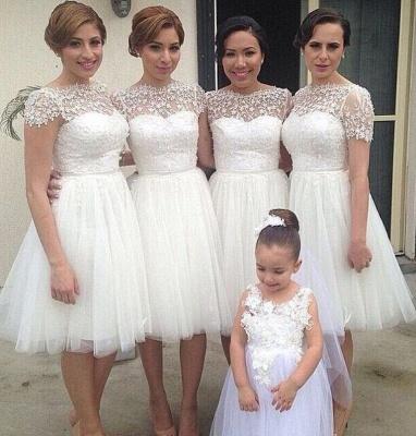Knee Length Short Bridesmaid Dresses Short Sleeves Lace vestidos de dama de honra_1