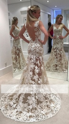 Alluring Sheer Mermaid Wedding Dresses | Lace Open Back Bridal Gowns_1