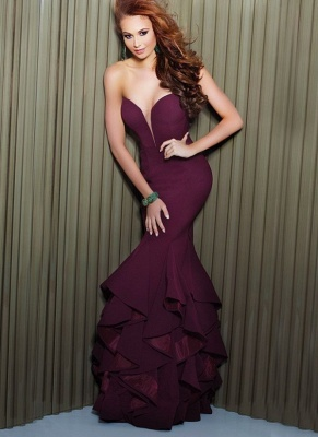 Elegant Mermaid Prom Dresses Sweetheart Neck Ruffles Evening Gowns_1