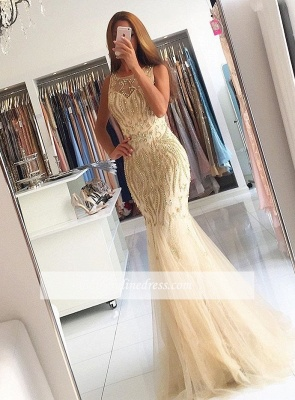 Luxury Beading Mermaid Evening Gowns | Sleeveless Sheer Long Prom Dresses_3