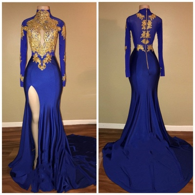 Royal Blue and Gold Prom Dresses | Long Sleeves Side Slit Evening Gowns_3