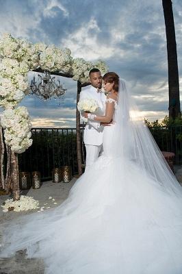 Elegant Off-the-Shoulder Tulle Appliques Mermaid Long Sleeves Wedding Dresses_3