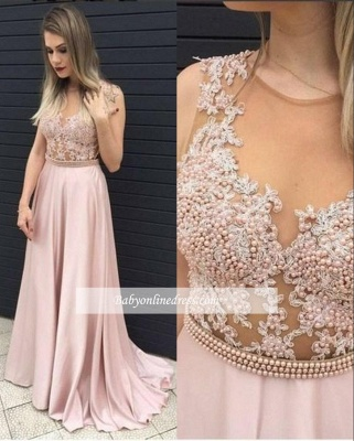 Pink Sleeveless Long Prom Dresses 2018 Pearls A-line Evening Gowns_3
