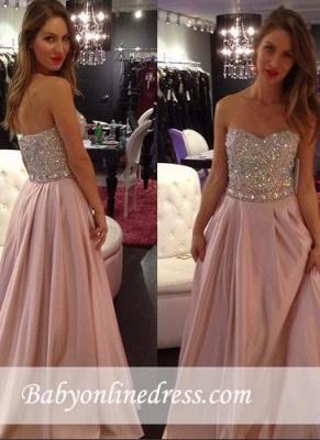 Elegant Pink Crystals Sweetheart-Neck A-line Long 2018 Prom Dresses_3