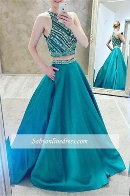 Luxury Two-Pieces Halter Evening Gowns 2018 Sleeveless A-Line Crystal Prom Dress_4
