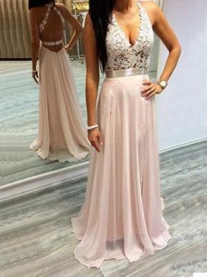 Sleeveless Halter Long Chiffon Lace Open-Back V-Neck Prom Dresses_2