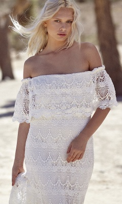 Bohemian Wedding Dresses Off the Shoulder Scalloped Crochet Lace Beach Bridal Gowns_5