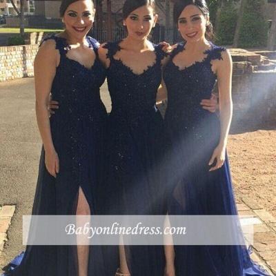 Navy Blue Lace Appliques Side-Slit Chiffon A-line Bridesmaid Dresses_1