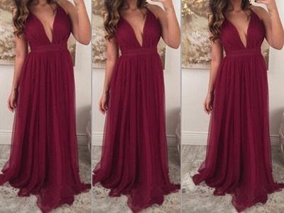 Chiffon Burgundy Prom Dresses Long V Neck Sleeveless Party Dresses_3