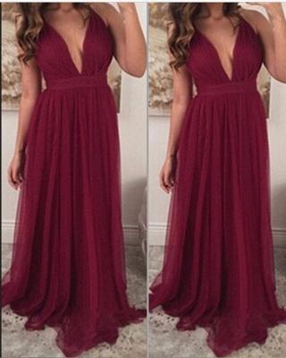 Chiffon Burgundy Prom Dresses Long V Neck Sleeveless Party Dresses_1