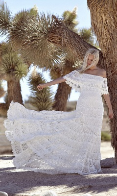 Bohemian Wedding Dresses Off the Shoulder Scalloped Crochet Lace Beach Bridal Gowns_3