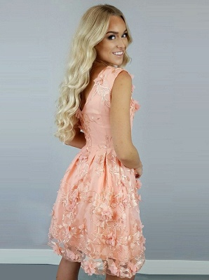 Exquisite A-Line Homecoming Dresses | Scoop Sleeveless Floral Cocktail Dresses_3