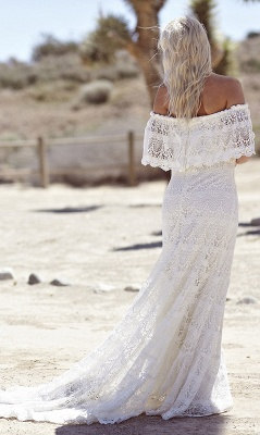 Bohemian Wedding Dresses Off the Shoulder Scalloped Crochet Lace Beach Bridal Gowns_4