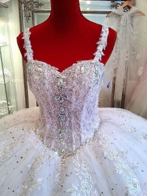 Ceystals Ball-Gown Straps Beading Sparkly Puffy Luxurious Lace Wedding Dress_3