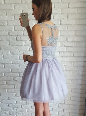 Sexy V-Neck Sleeveless A-Line Homecoming Dresses | Lace Appliques Short Prom Dresses_3
