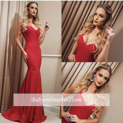 Sweetheart Long Red Length Floor Mermaid Prom Dress_2