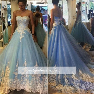 Elegant Princess Strapless Prom Dresses Lace Appliques Sleeveless Evening Gowns_1