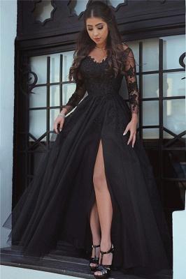 Long-Sleeve Black Slit Glamorous Lace Evening Dress_2