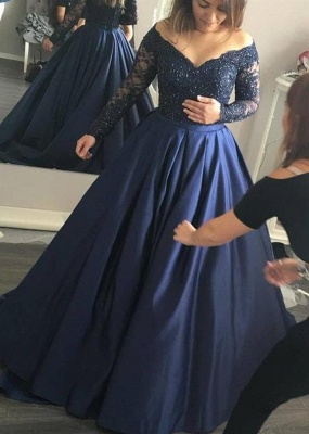Navy-Blue Elegant Lace Long-Sleeves Off-the-Shoulder Prom Dress_4