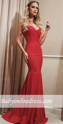 Sweetheart Long Red Length Floor Mermaid Prom Dress_3