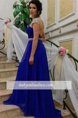 Royal-Blue High-Neck Prom Dress 2018 A-Line Short-Sleeves Evening Gowns with Beadings_4