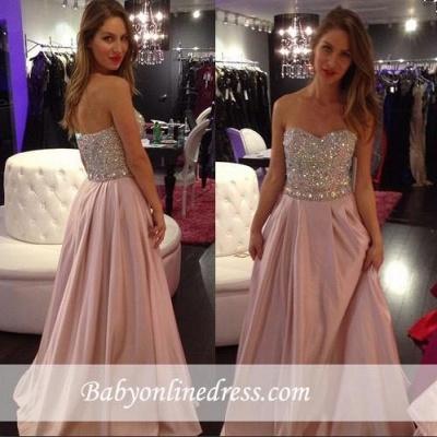Elegant Pink Crystals Sweetheart-Neck A-line Long 2018 Prom Dresses_1