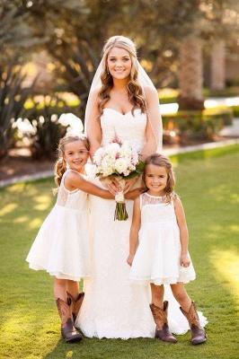 Modern White Illusion Sleeveless Lace Knee length A-line Flower-Girl Dress_3