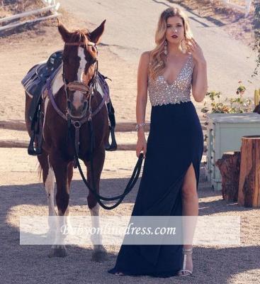 Sexy Crystal V-neck Sleeveless Split Long A-line Prom Dress_1