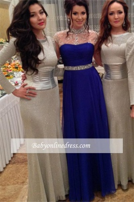 Royal-Blue High-Neck Prom Dress 2018 A-Line Short-Sleeves Evening Gowns with Beadings_3