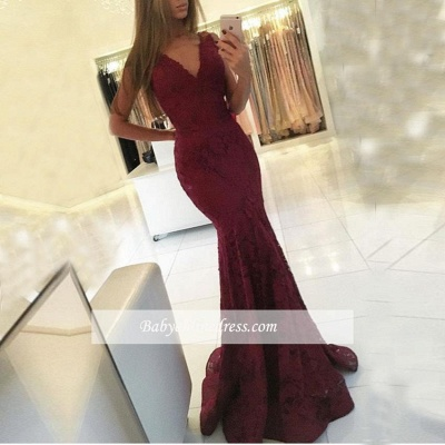 V-neck Sweep-Train Lace Mermaid Sleeveless Newest Prom Dress_1