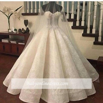 Gorgeous Lace Ruffles Sweetheart-Neck Ball-Gown Wedding Dresses_1