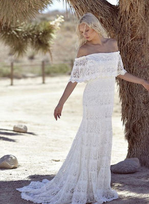 Bohemian Wedding Dresses Off the Shoulder Scalloped Crochet Lace Beach Bridal Gowns_2